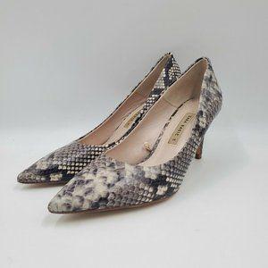 Zara Basic Snakeskin Print Leather Stiletto Heels